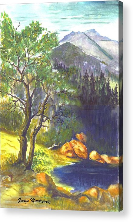 Landscape With Mountians Acrylic Print featuring the print Mountain Sun by George Markiewicz