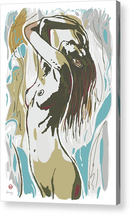 Nude Acrylic Print featuring the mixed media Nude Pop Art Stylised Poster by Kim Wang