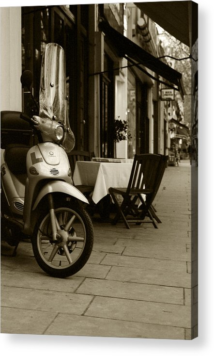 Scooter Acrylic Print featuring the photograph Scooter Cafe by Ayesha Lakes