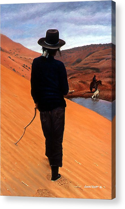 Navajo Indian Southwestern Monument Valley Acrylic Print featuring the painting The Good Shepherd by John Watt