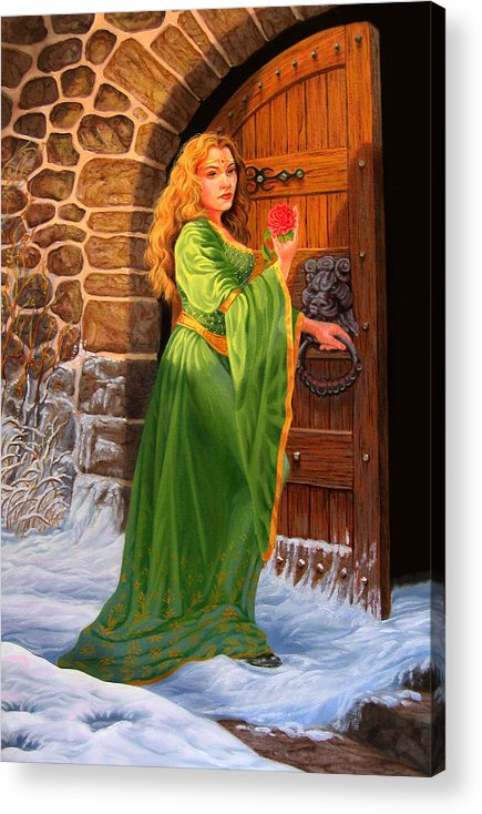 Medievil Acrylic Print featuring the painting Winter's Last Rose by Pat Lewis