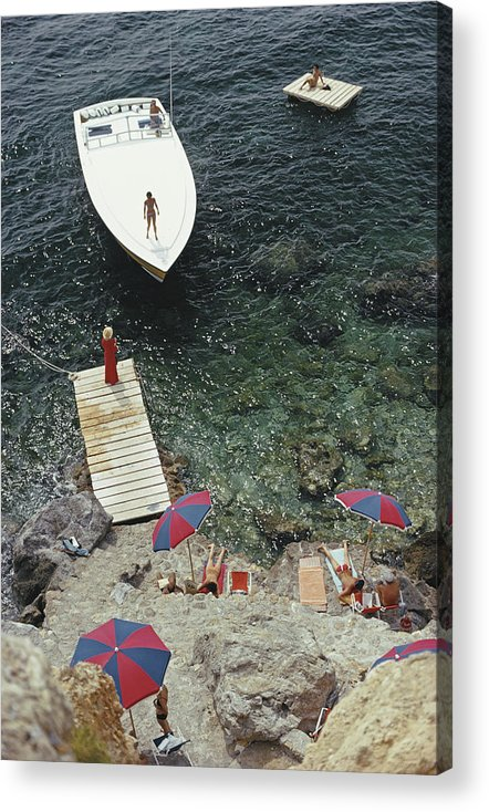 People Acrylic Print featuring the photograph Coming Ashore by Slim Aarons