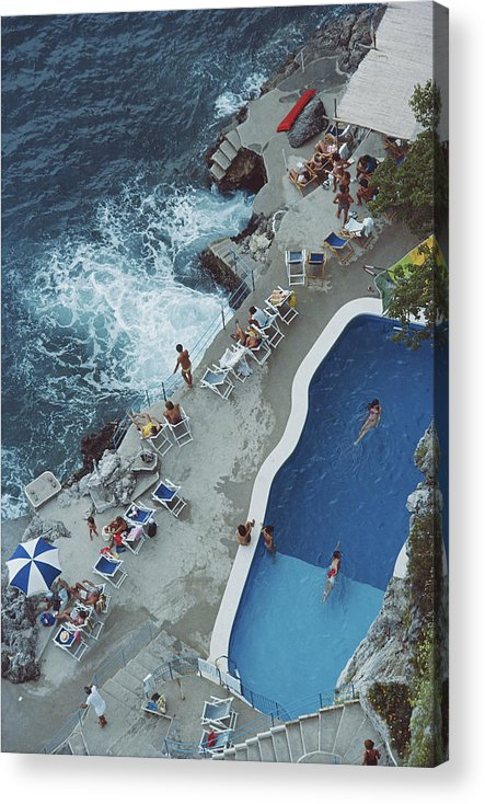 1980-1989 Acrylic Print featuring the photograph Pool On Amalfi Coast by Slim Aarons