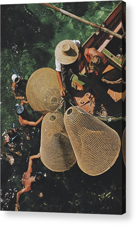 Straw Hat Acrylic Print featuring the photograph Snorkelling In The Shallows by Slim Aarons