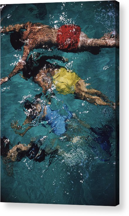 People Acrylic Print featuring the photograph Swimming In The Bahamas by Slim Aarons