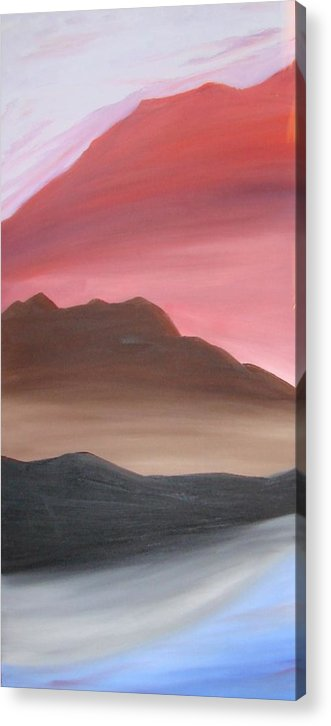 Mountain Acrylic Print featuring the painting 3 Mountains by Liz Vernand