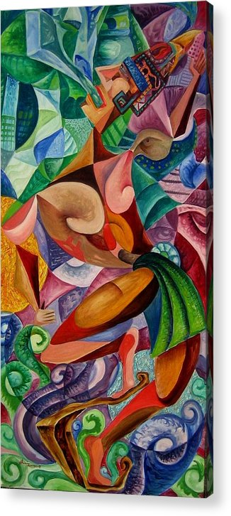 Painting Paintings Mexican Art Painting Acrylic Print featuring the painting Balancing With What Is Given by Horacio Montes