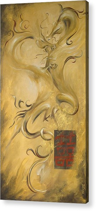 Asian Dragons Chinese Kanji Symbol Love Passion Couple Happiness Mystical Good Luck Good Fortune Acrylic Print featuring the painting Dragon Double Happiness by Dina Dargo