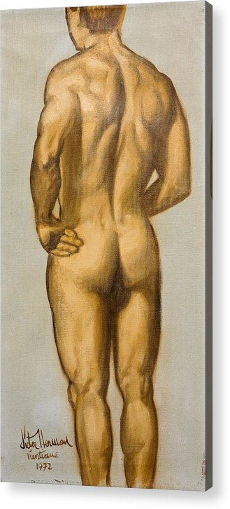 Man Acrylic Print featuring the painting Male Nude Self Portrait By Victor Herman by Joni Herman