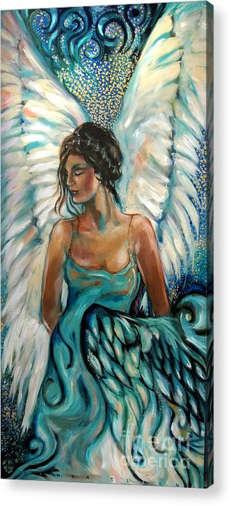 Angel Acrylic Print featuring the painting New Year's Angel by Linda Olsen