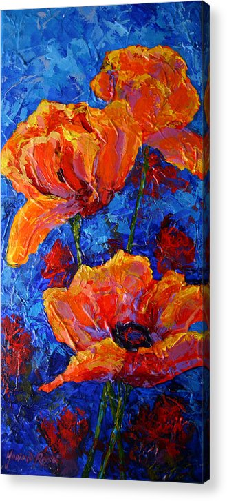 Poppies Acrylic Print featuring the painting Poppies II by Marion Rose