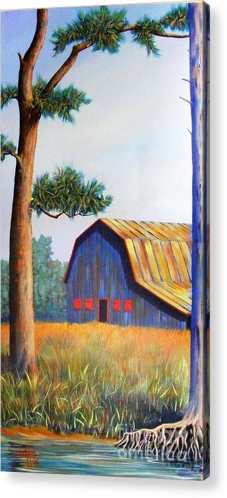 Barn Acrylic Print featuring the painting Riverbank Barn by Hugh Harris