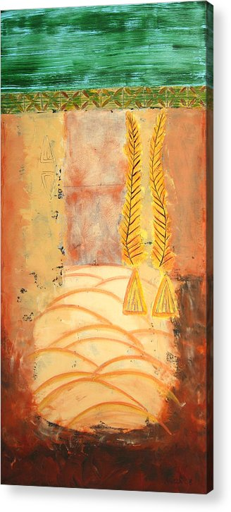 Abstract Acrylic Print featuring the painting Scythian Gold 2 by Aliza Souleyeva-Alexander