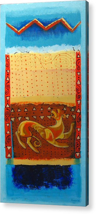 Abstract Acrylic Print featuring the painting Scythian Gold 3 by Aliza Souleyeva-Alexander