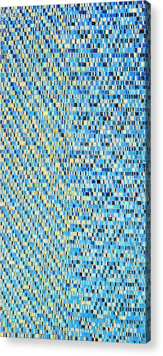 Abstract Pattern Structure Rhythm Green Blue Yellow Rectangular Acrylic Print featuring the painting Skyblue by Joan De Bot