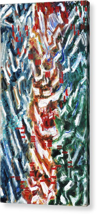 Abstract Red Green Blue White Pattern Acrylic Print featuring the painting Totem by Joan De Bot