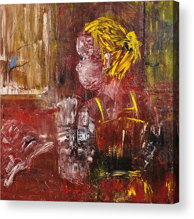 Girl Acrylic Print featuring the painting Rainy Mood by Evelina Popilian