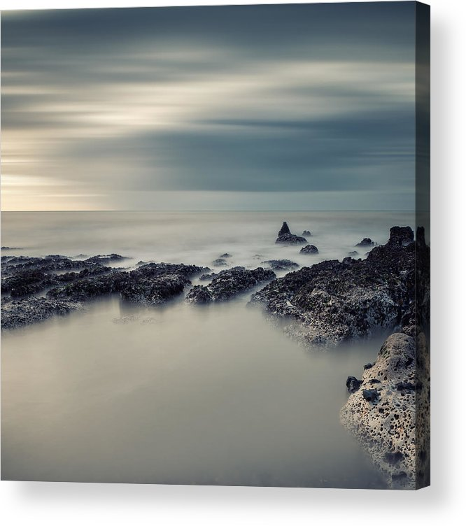 Landscape Acrylic Print featuring the photograph Vintage Style Cross Processed Seascape Long Exposure by Matthew Gibson
