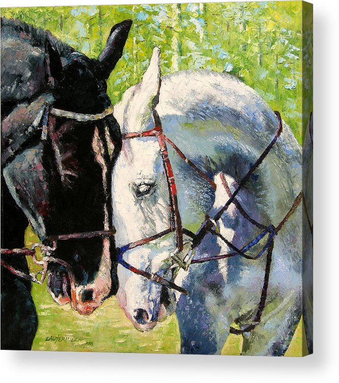 Horses Acrylic Print featuring the painting Bridled Love by John Lautermilch