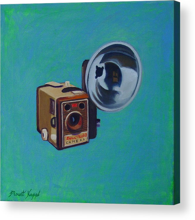 Vintage Acrylic Print featuring the painting Brownie Box Camera by The Vintage Painter