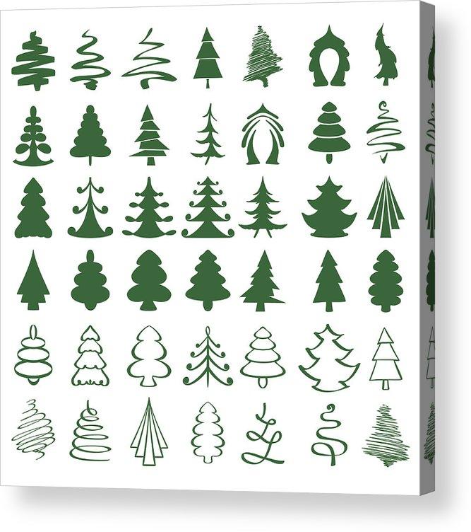 Drawing Christmas Tree Sketch.Christmas Trees Sketch Set Vector Illustration Acrylic Print