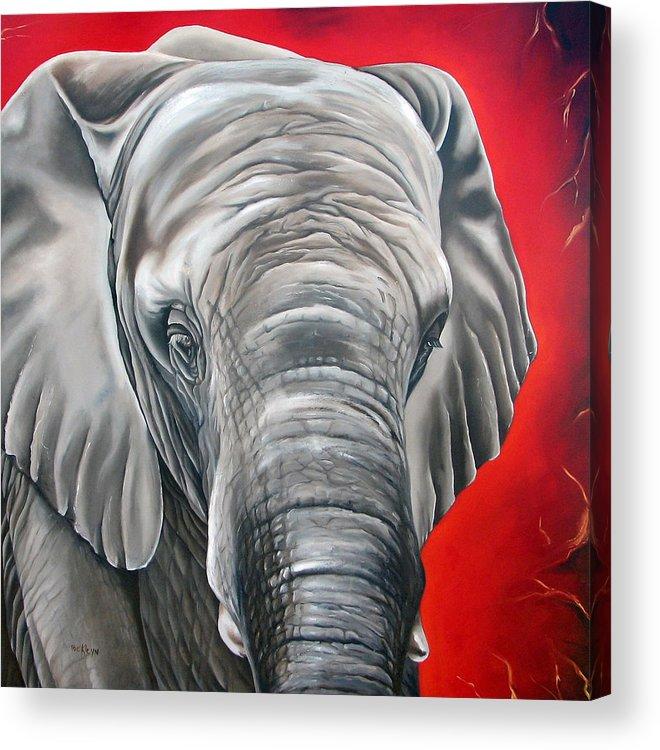 Elephant Acrylic Print featuring the painting Elephant Six Of Eight by Ilse Kleyn