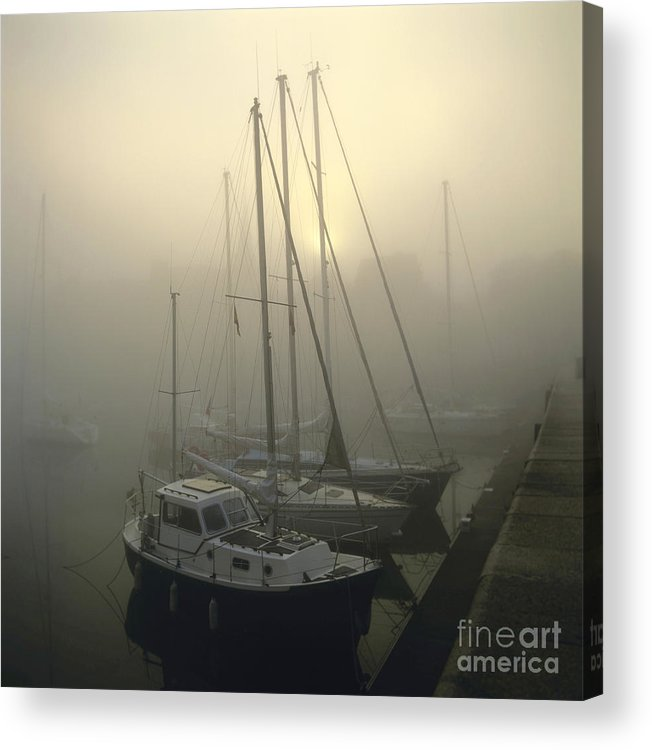 The Acrylic Print featuring the photograph Honfleur Harbour In Fog. Calvados. Normandy by Bernard Jaubert