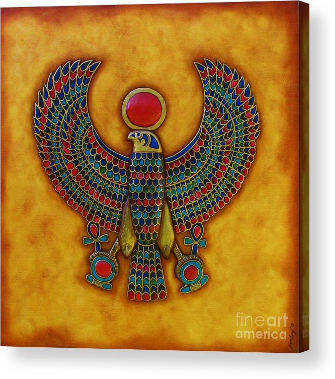 Horus Acrylic Print featuring the mixed media Horus by Joseph Sonday