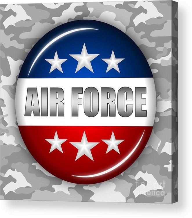 Air Force Acrylic Print featuring the digital art Nice Air Force Shield 2 by Pamela Johnson