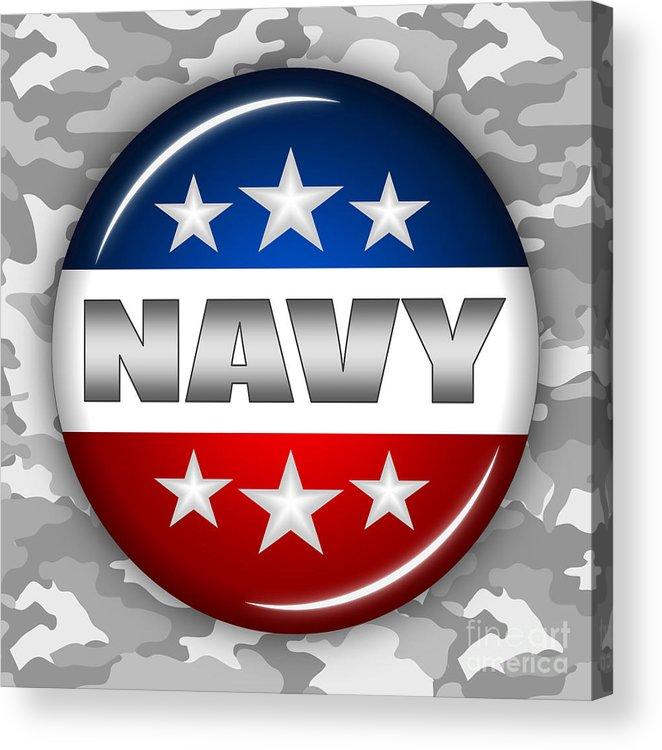 Navy Acrylic Print featuring the digital art Nice Navy Shield 2 by Pamela Johnson