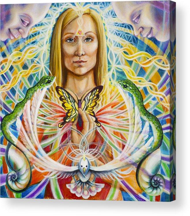 Aura Acrylic Print featuring the painting Spirit Portrait by Morgan Mandala Manley
