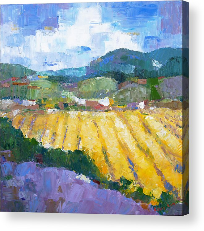 Oil Acrylic Print featuring the painting Summer Field 2 by Becky Kim