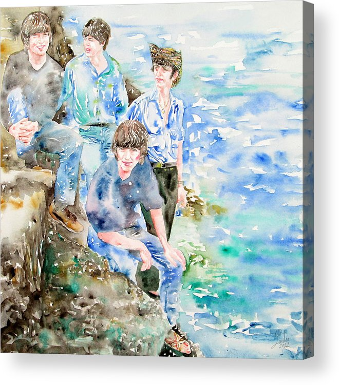 Beatles Acrylic Print featuring the painting The Beatles At The Sea - Watercolor Portrait by Fabrizio Cassetta