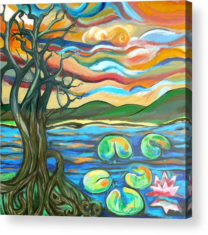 Tree Acrylic Print featuring the painting Tree And Lilies At Sunrise by Genevieve Esson