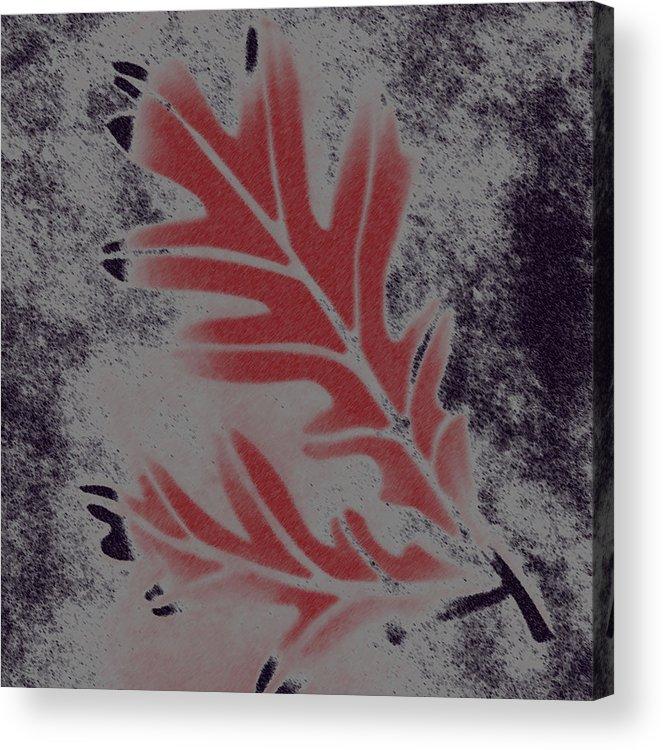 Leaf Acrylic Print featuring the digital art White Oak Leaf by Lovina Wright
