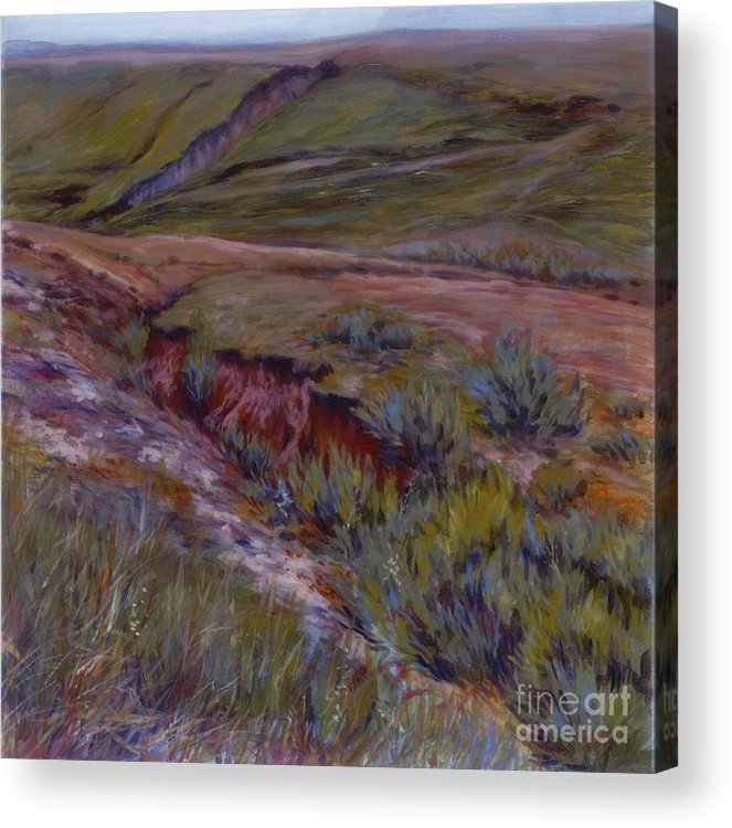 Landscape Acrylic Print featuring the painting Wounded Earth by Betsee Talavera