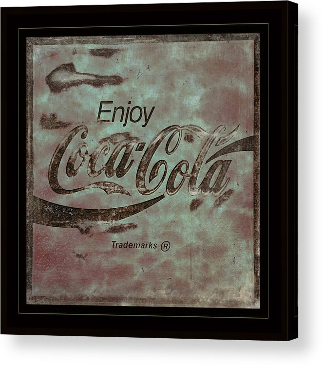 Coca Cola Acrylic Print featuring the photograph Coca Cola Sign Grungy Retro Style by John Stephens