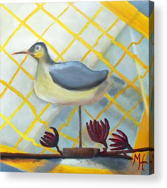 Bird Painting Acrylic Print featuring the painting Decoy On A Stand by Margaret Harmon