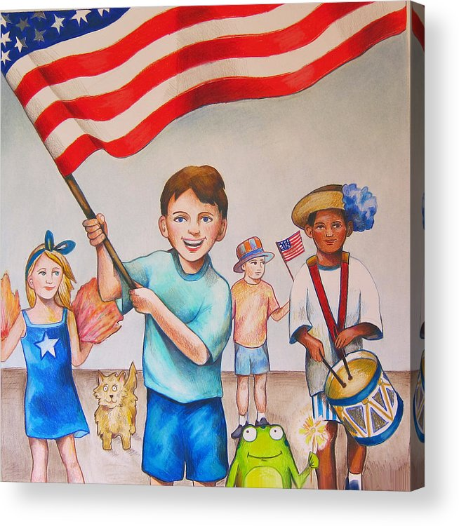 Fourth Of July Acrylic Print featuring the drawing Fourth Of July by Nicole McKeever