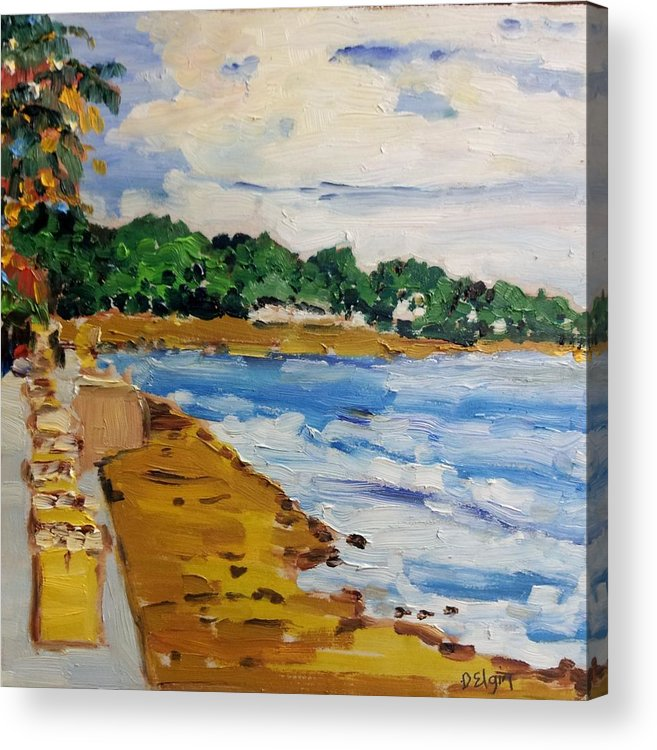 Seascape Acrylic Print featuring the painting Frederiksted By The Pier by Diane Elgin