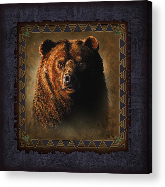 Wildlife Acrylic Print featuring the painting Grizzly Lodge by JQ Licensing