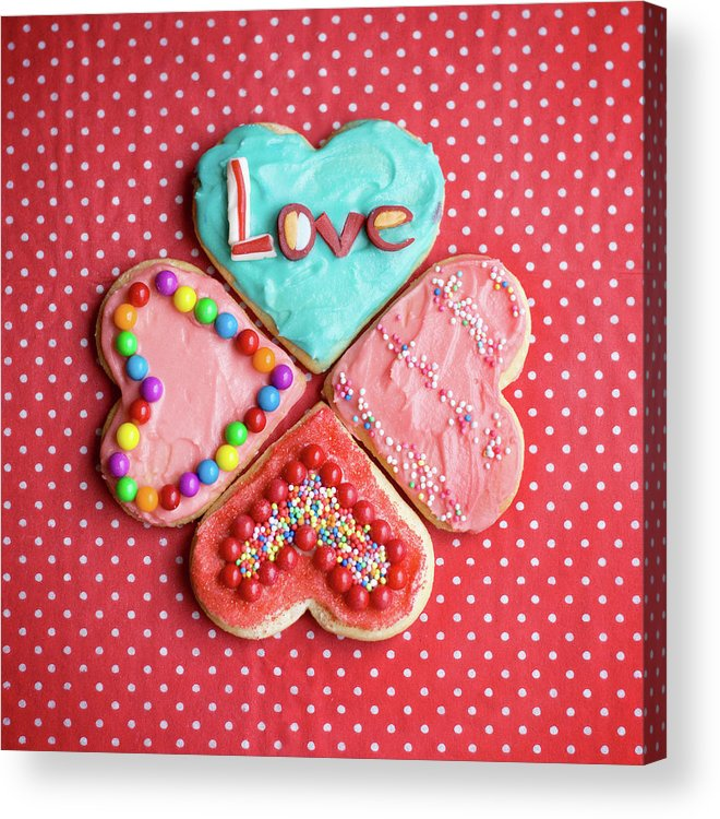 Vertical Acrylic Print featuring the photograph Heart Shaped Love Cookies by Kelly Sillaste