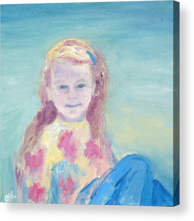 Child Portrait Acrylic Print featuring the painting Malve Portrait by Barbara Anna Knauf