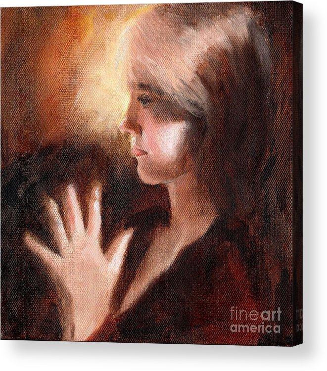 Portrait Profile Prayer Peace Young Girl Lady Teenager Devotion Mudra Acrylic Print featuring the painting Peace by Ann Radley