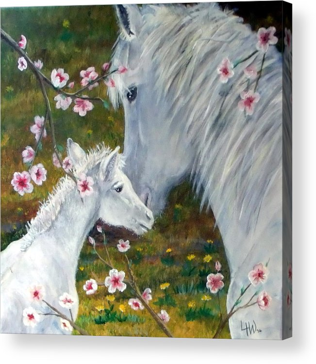 Leslie Acrylic Print featuring the painting Spring Foal by Leslie Hoops-Wallace