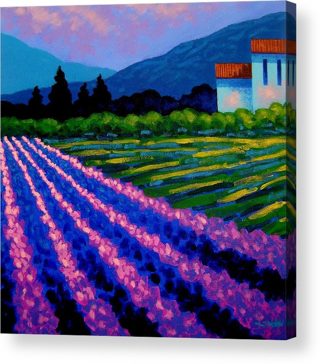 Landscape Acrylic Print featuring the painting Lavender Field France by John Nolan