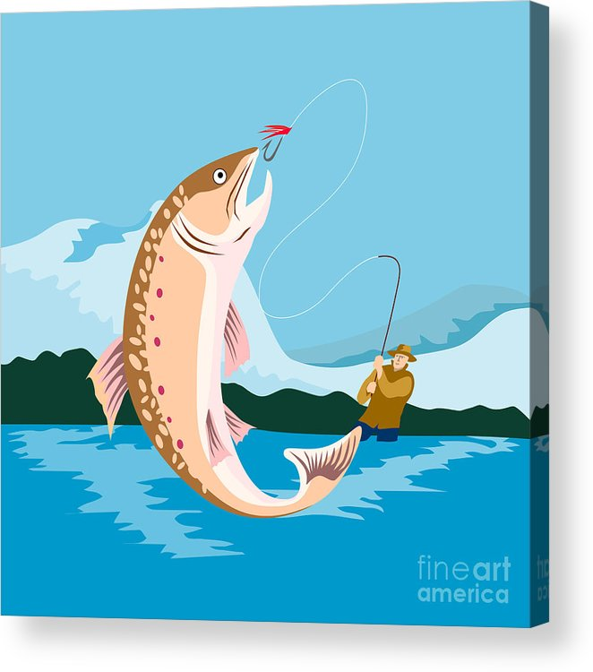 Fly Fisherman Acrylic Print featuring the digital art Fly Fisherman Catching Trout by Aloysius Patrimonio