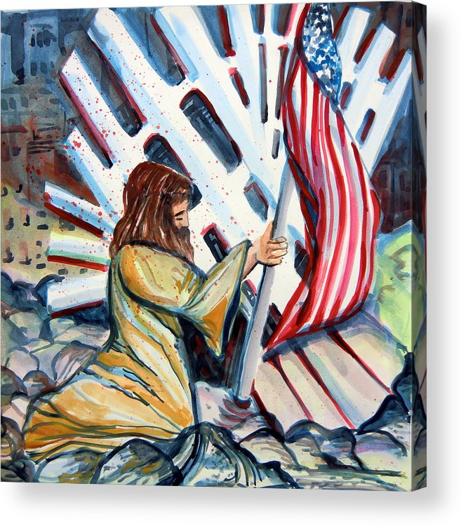 911 Acrylic Print featuring the painting 911 Cries For Jesus by Mindy Newman