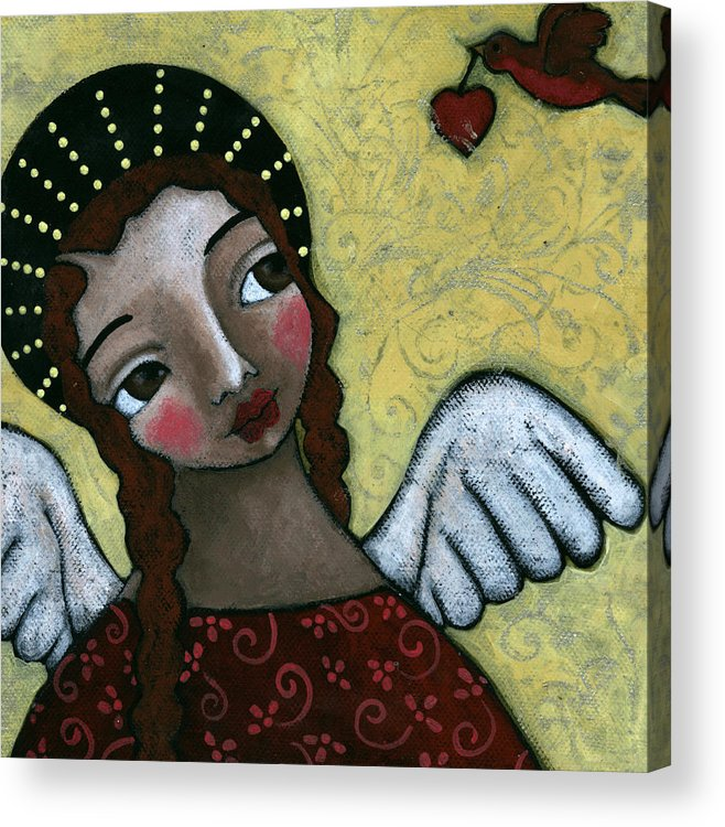 Angel Acrylic Print featuring the painting Angel With Bird Of Peace by Julie-ann Bowden