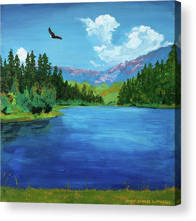 Bald Eagle Acrylic Print featuring the painting Bald Eagle At Hume Lake - Psalm 103 Verse 5 by Charles and Stacey Matthews